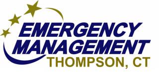 """Words """"Emergency Management, Thompson Ct with drawing of 3 stars"""